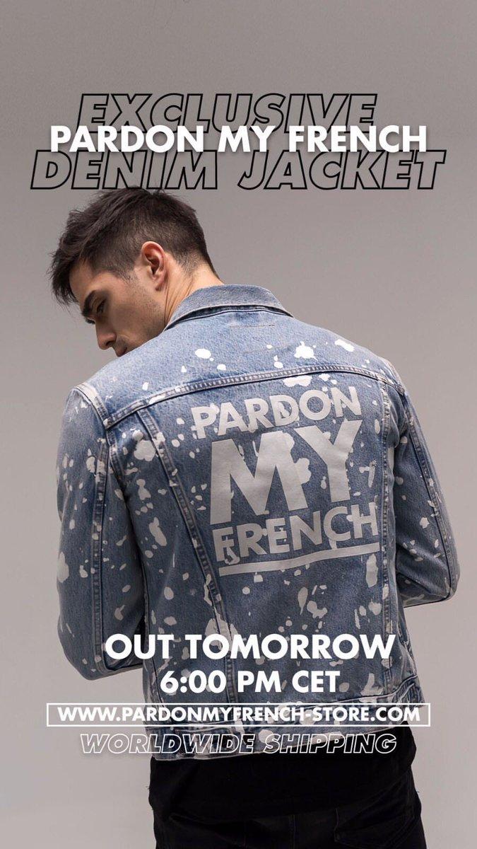 PARDON MY FRENCH DENIM JACKET 🇫🇷 Out tomorrow 6.00 CET http://www.pardonmyfrench-store.com @pmf_merch @djsnake
