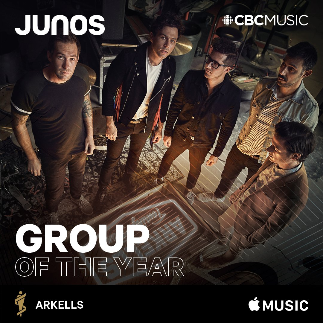 And @arkellsmusic win another #JUNO, this time for group of the year!