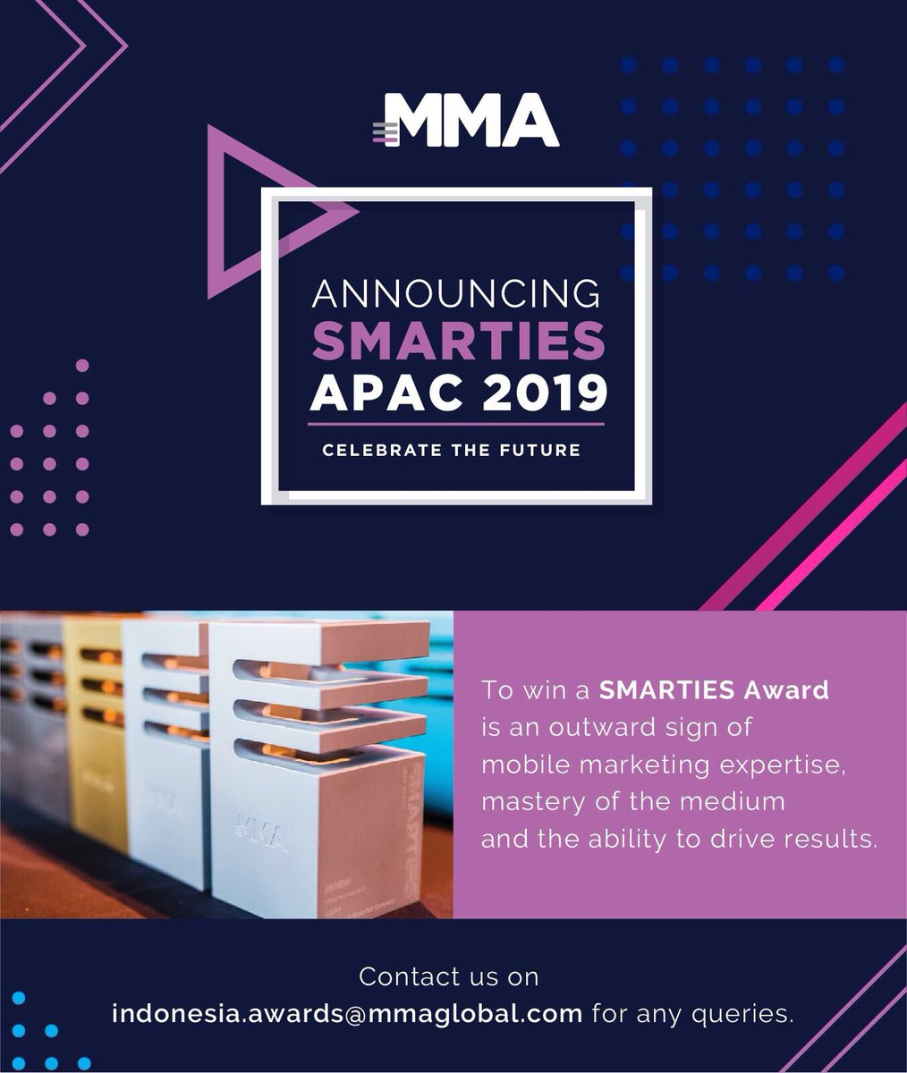 Get listed for this year's Smarties APAC 2019 Awards. #SmartiesAwards #Indonesia  @MMA_APAC @MMAglobal #MMAIndonesiapic.twitter.com/zA9xpt6lGi