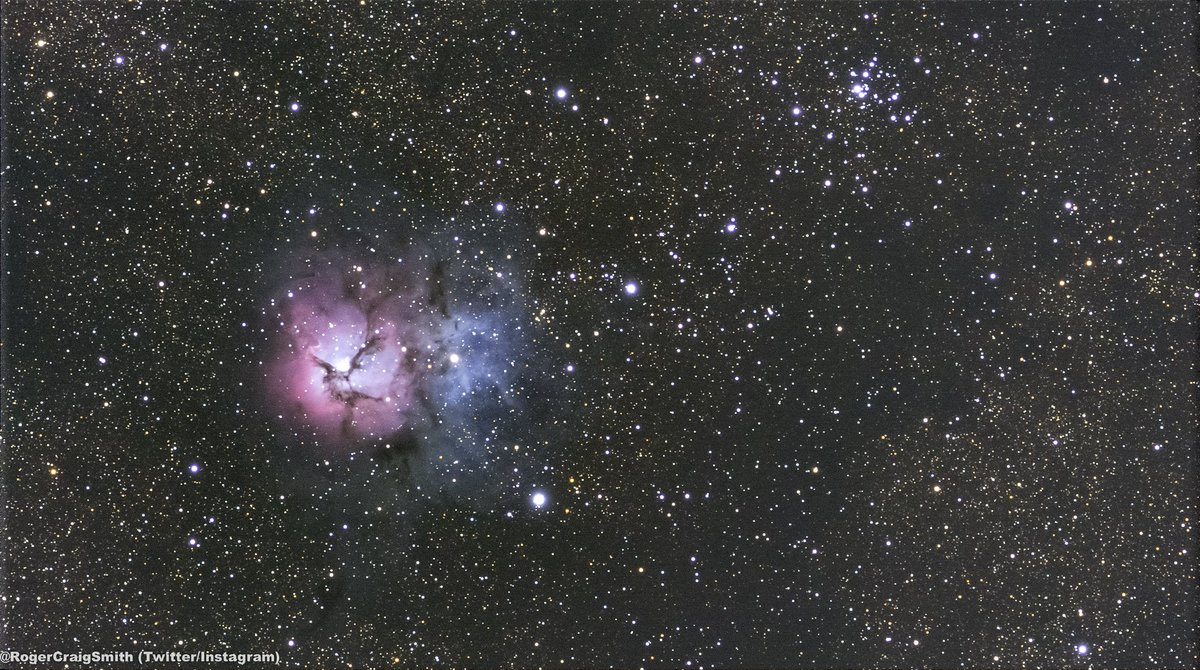 The Universe is so dumb and stuff. (Trifid nebula, early morning today) 🤓❤️🔭