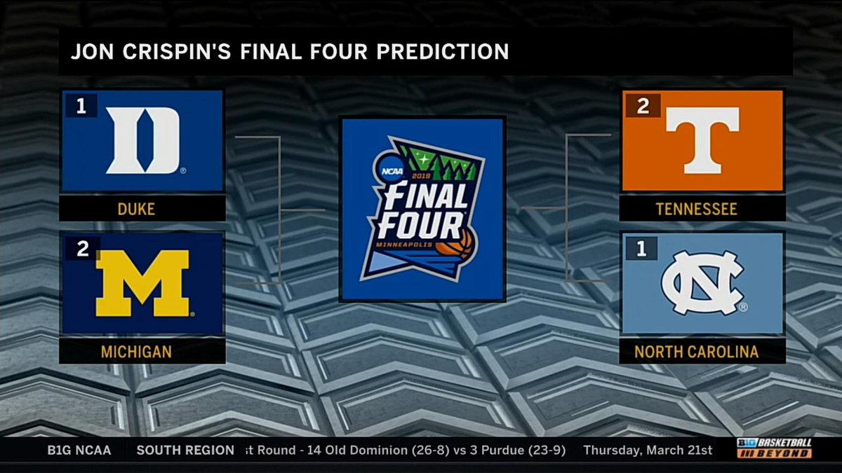 Here are @BTNJonCrispin's Final Four picks.  What do you have, @B1GMBBall fans?  #MarchMadness x #MarchOnBTN