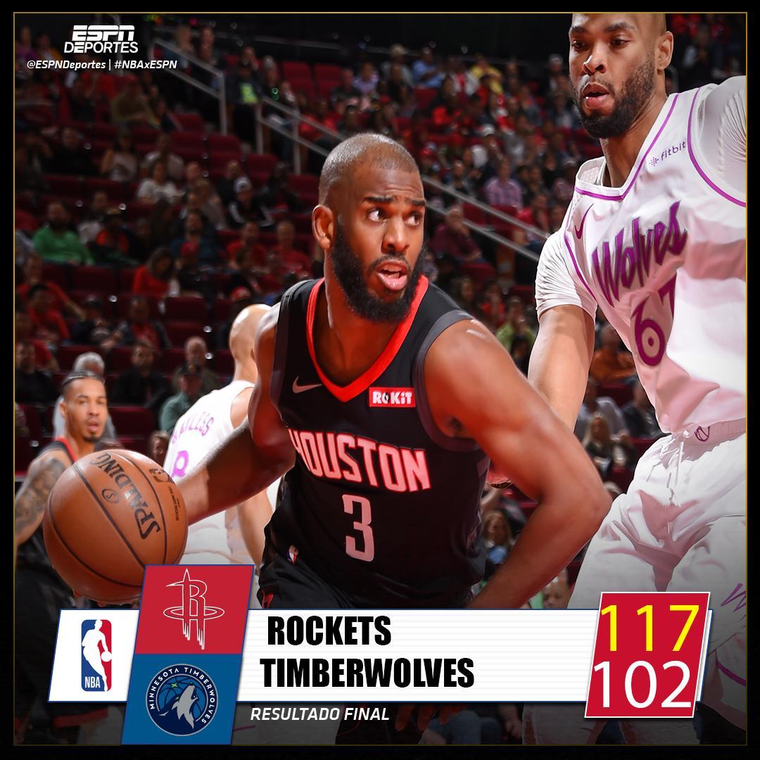 🚀 Los Rockets ganan a Timberwolves con un festival de tres puntos de @CP3 #NBA #Rockets #Timberwolves