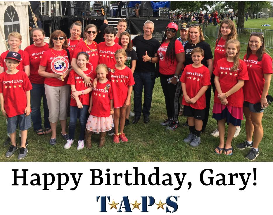Happiest birthday wishes to our dear friend @GarySinise  ! We appreciate your love and support of the TAPS mission and are so grateful for everything you do for our nation's Veterans and the families of our fallen heroes. ❤️