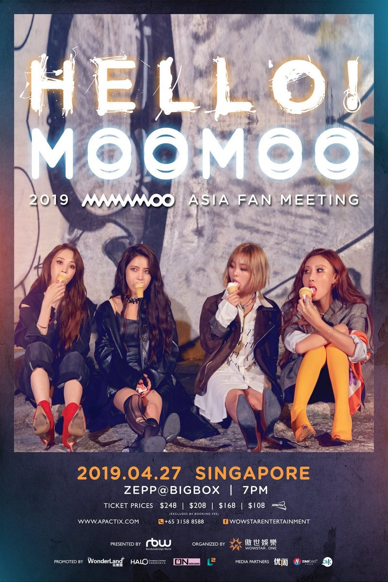 Hello MooMoo! In Singapore ticket details have just been released!   VIP - $248  Cat 1 - $208 Cat 2 - $168  Cat 3 - $108  Tickets will go on sale online and available for purchase through outlets on 22nd March, Friday 10am at  http:// apactix.com  &nbsp;  <br>http://pic.twitter.com/Hy1Lt1dqp4
