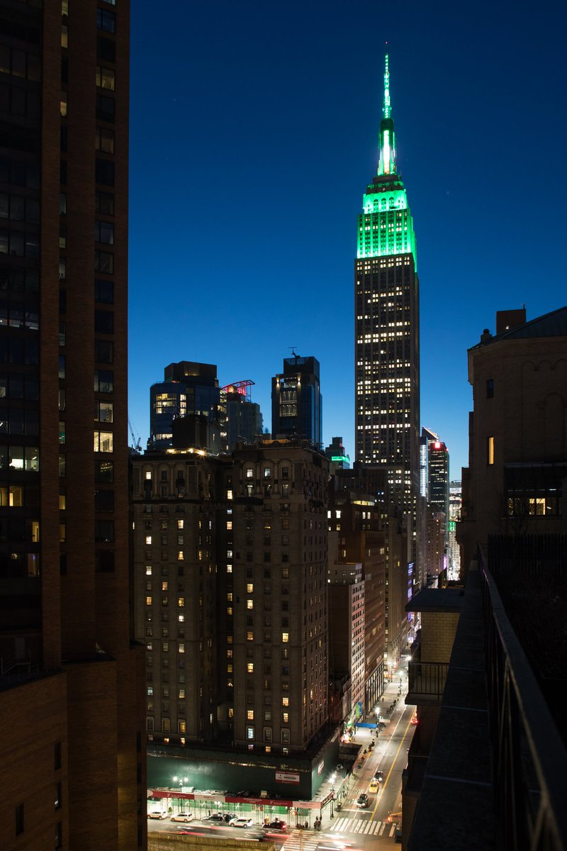 The Empire State Building's #StPatricksDay display from Murray Hill, NYC