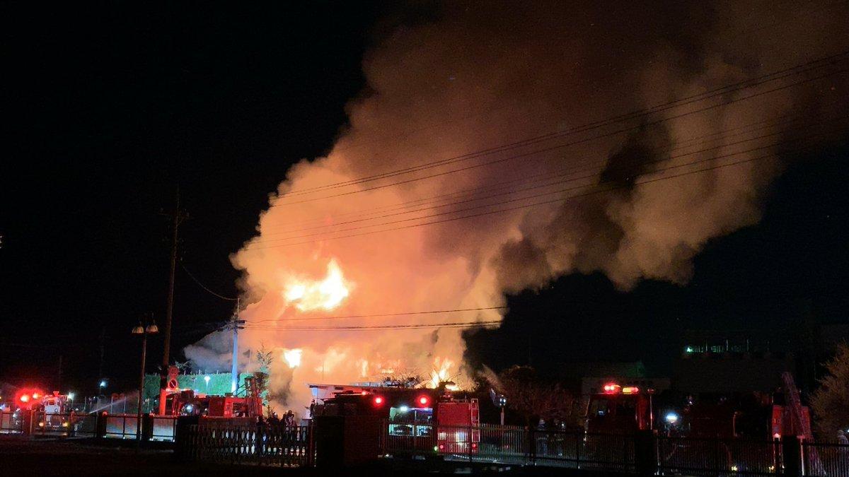 伊勢崎市香林町で火事の現場画像
