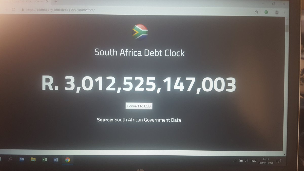 Our national debt just went through the R3trillion mark today. Each man,woman and child owes R55 276 000!  Our interest we pay is now R170bn per annum. Eish!