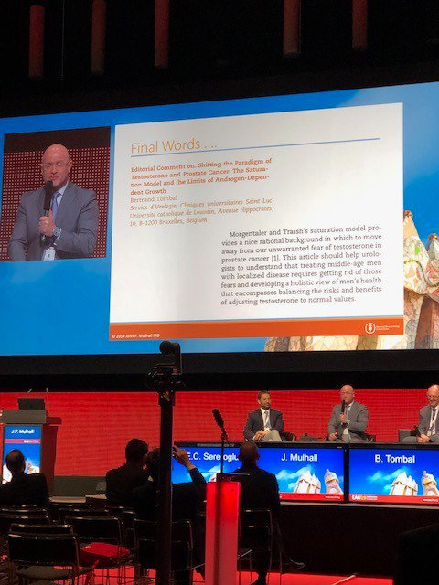 Great discussion! Would you give TRT in a hypogonadal patient with low grade prostate cancer? You know our answer! #EAU19<br>http://pic.twitter.com/UksqaRox3a