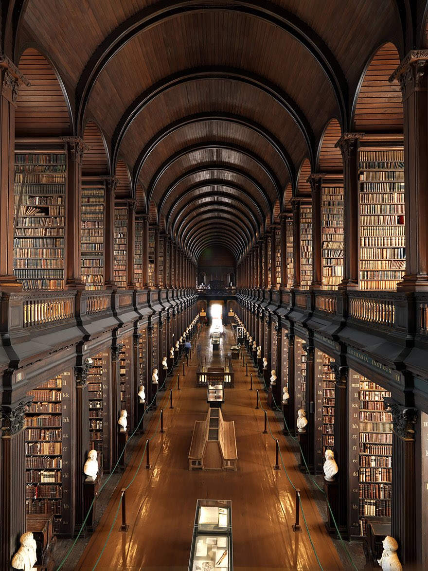 Here's a picture of Trinity college library in Dublin to ease you into Monday gently like a calming mahogany scented back rub.