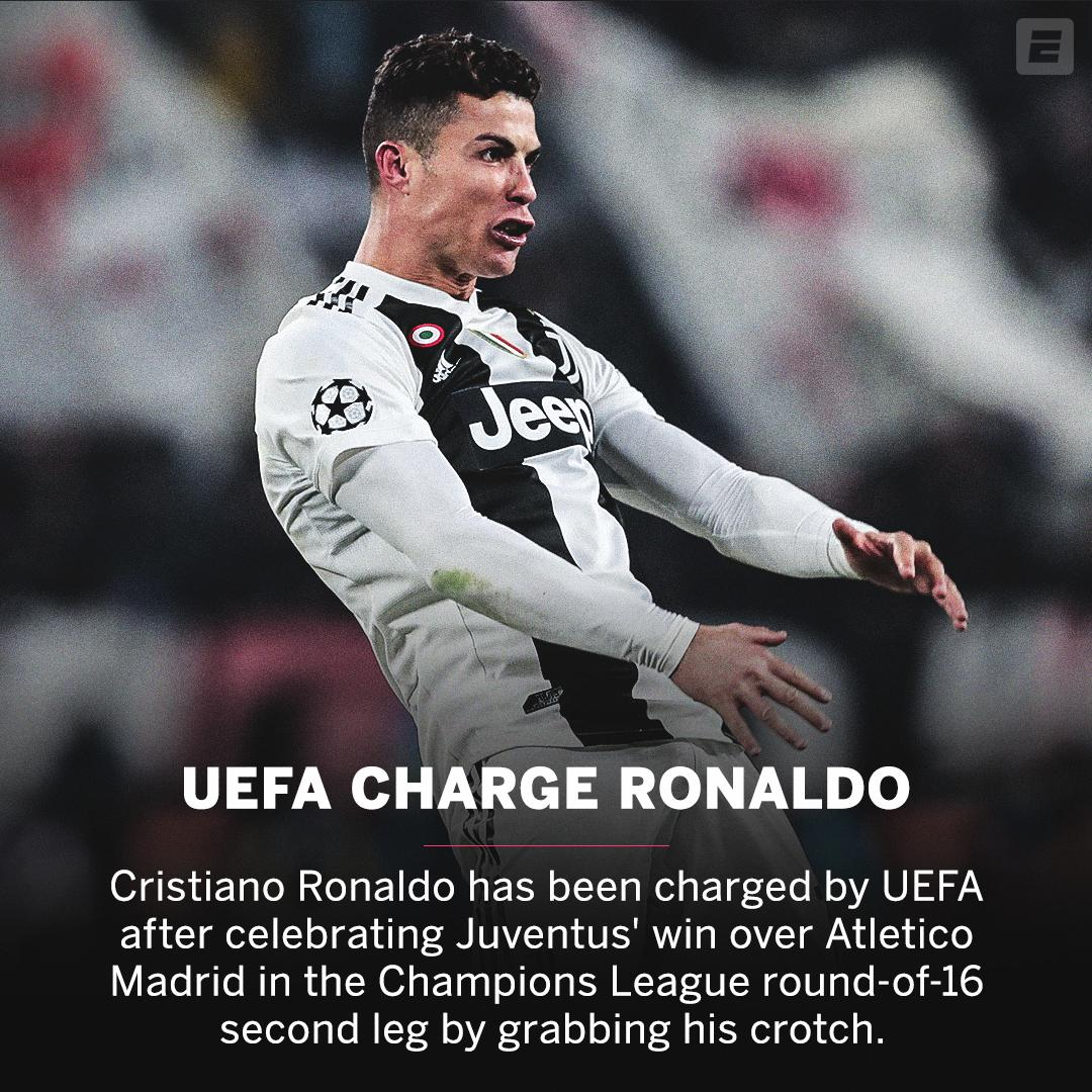 UEFA charge Cristiano Ronaldo for his Simeone-style celebration.  Story: http://es.pn/2CoP8pB