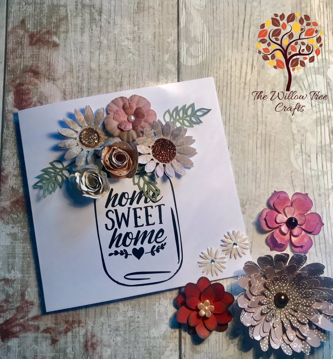 Home sweet home card each card will be unique to you depending on colour choice and flower designs  cards are 6x6 inch  made from high quality 250 gsm card £3.50  inbox to order yours. #handmade #greetingcards #homesweethome #paperflowers <br>http://pic.twitter.com/kZERvrN5ym