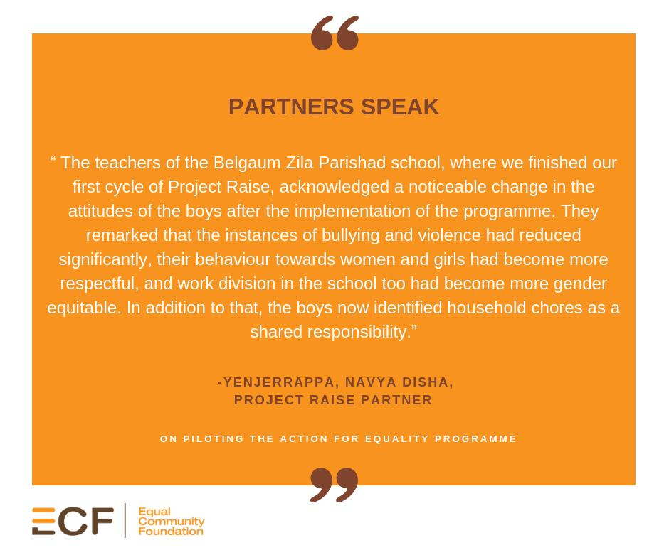 Our #ProjectRaise partners @navyadisha, have initiated a #gender-transformative programme with boys in two districts of #Karnataka.   Here's what Yenjerrappa, implementing the programme, had to say about their experience.  #GenderEquitableBoys #MondayMotivation #SocialImpact