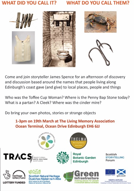 Join storyteller James Spence tomorrow for an afternoon of reminiscence on names, places and words gone by.