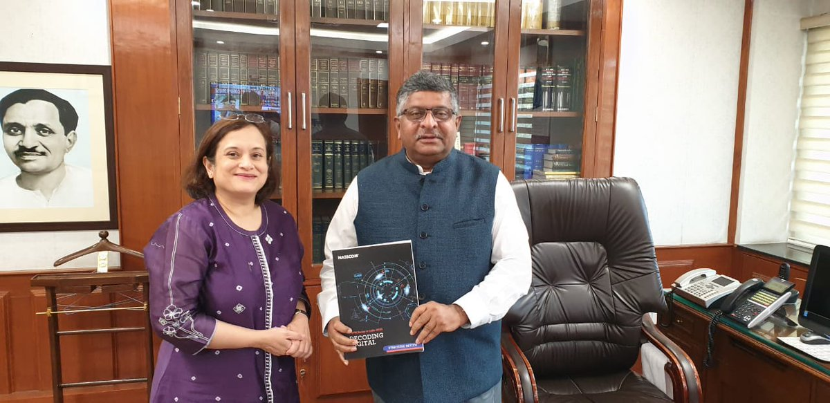 .@debjani_ghosh_ presenting the first copy of our annual Strategic Review Report 2018-19 to @rsprasad.  A good year with USD 177 billion revenue and our employee base reaching 4.14 million (growing by 4.3%).