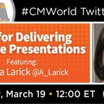 Do you lead conference calls or meetings at work? Are you a speaker?On this week's #CMWorld chat, CMI's Speaker Engagement Manager @A_Larick will be share her tips for delivering effective presentations. Come join the conversation!Preview: https://t.co/YZvIpduyV0