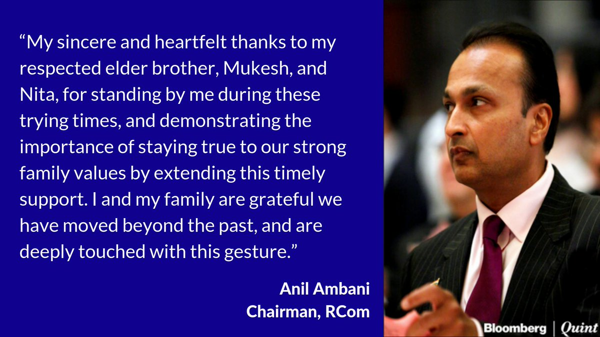 RCom has paid Rs 550 crore to Ericsson as per the directions of the Supreme Court, confirmed the company spokesperson. Anil Ambani thanked his family for the financial support.  Read more: https://goo.gl/QPNbtG