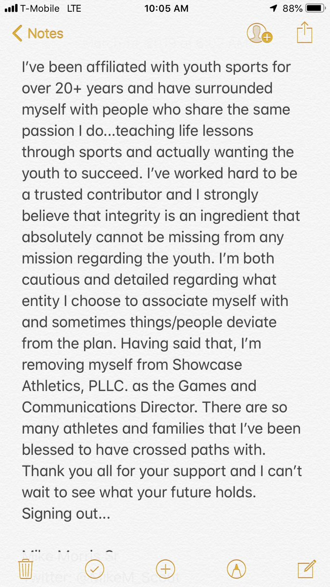 For reasons I will not openly discuss, I have decided to step down as the Showcase Athletics Director of Games and Communications. I'm still dedicated to helping the youth in the community but I will no longer do so under the SCA platform. Thank you to all that showed support!
