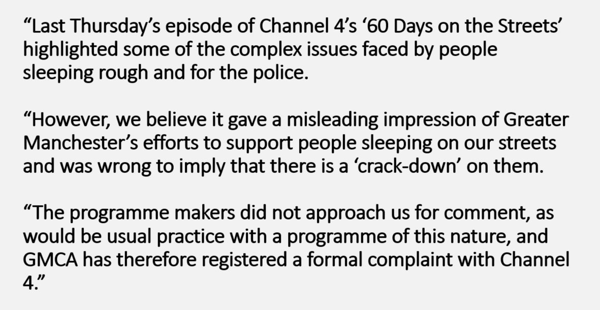 A statement regarding last Thursday&#39;s episode of 60 Days on the Streets on @Channel4<br>http://pic.twitter.com/YDel8GsUNJ
