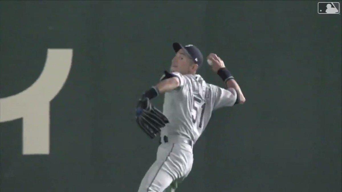Ichiro's arm is still incredible at 45  (via @MLB)