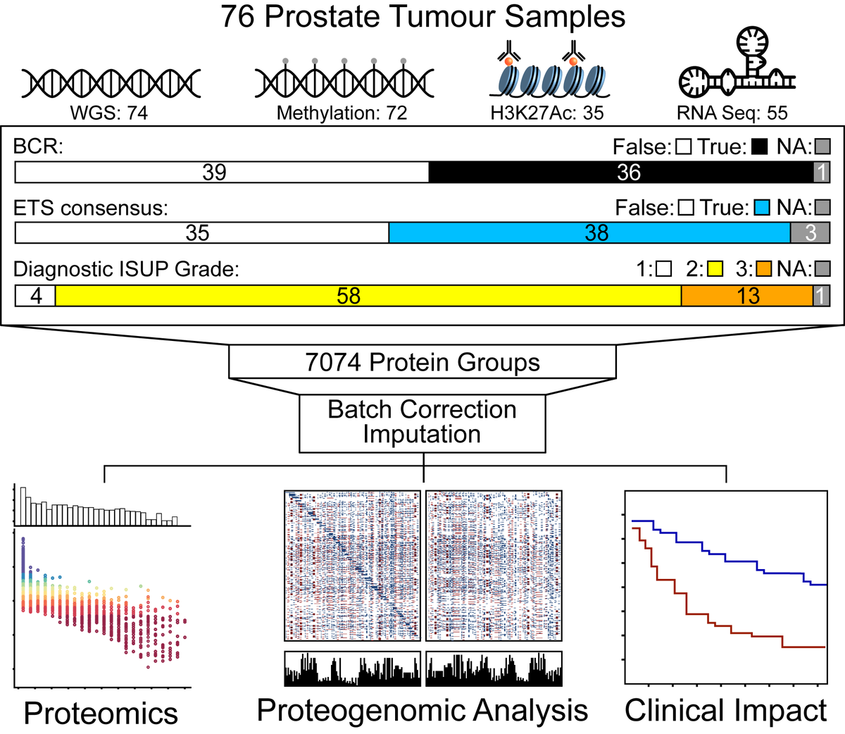 Out today: the first large-scale proteogenomic study of localized prostate cancer, linking whole-genome sequencing of tumour &amp; normal, deep RNA-Seq, methylome and whole-proteome mass-spec. Working with superstar proteomicists Thomas Kislinger and @ankitYYZ ,  we characterized 76<br>http://pic.twitter.com/z7QY6r3fub