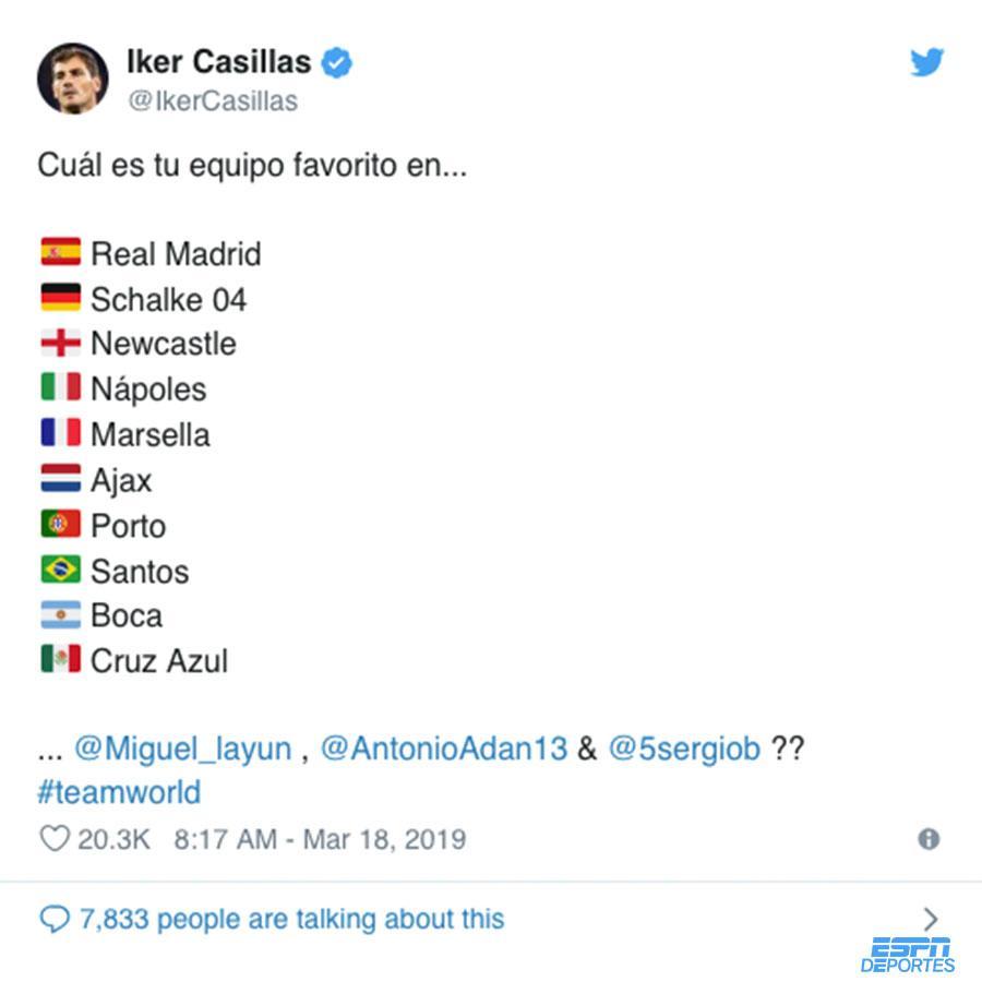 Estos son los equipos favoritos de @IkerCasillas ⚽️ 😅 ⬇️