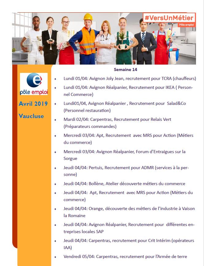 091d750ebfb Le programme de  VersUnMétier d avril 2019 en Vaucluse est disponible. Vous  souhaitez participer à une manifestation
