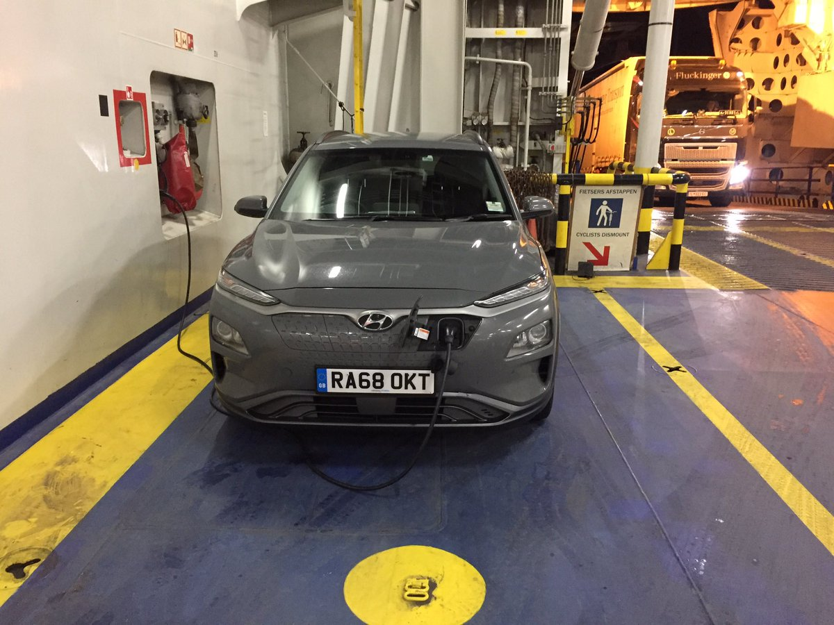 Thank you Stena Line ferries for providing EV charge points on the Harwich - Hook of Holland crossing. EZ ZE drive on to Amsterdam with 205 miles left on arrival - feels so good!