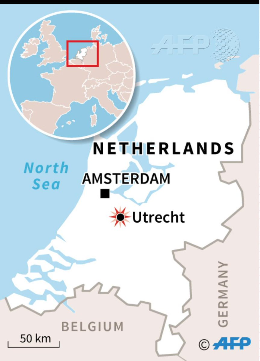 #UPDATE A gunman opened fire on a tram in the Dutch city of Utrecht on Monday, killing at least one person and wounding several in what officials said was a possible terrorist incident. http://u.afp.com/JTJK