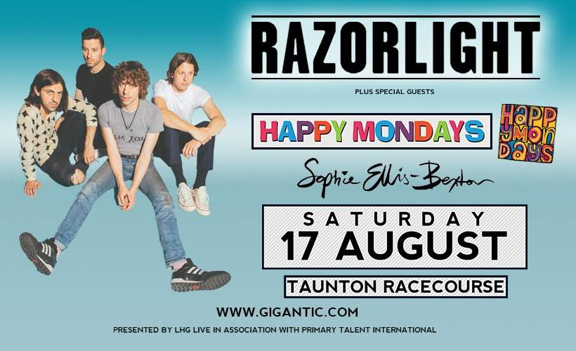 Excellent addition to an already stellar line up: @Razorlight's one-off gig with @Happy_Mondays at Taunton Racecourse will now also feature @SophieEB! Get tickets now!! http://bit.ly/2oiq3VW