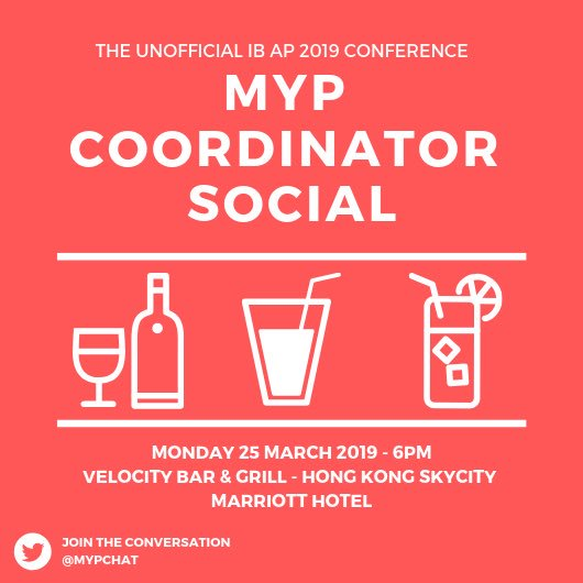 It can be a lonely world out there as a new MYP Coordinator - come mingle and make friends at the unofficial MYPC social! #IBAP2019 @ibmyp @MYPChat #HKparty pic.twitter.com/hFHZbDiG3L