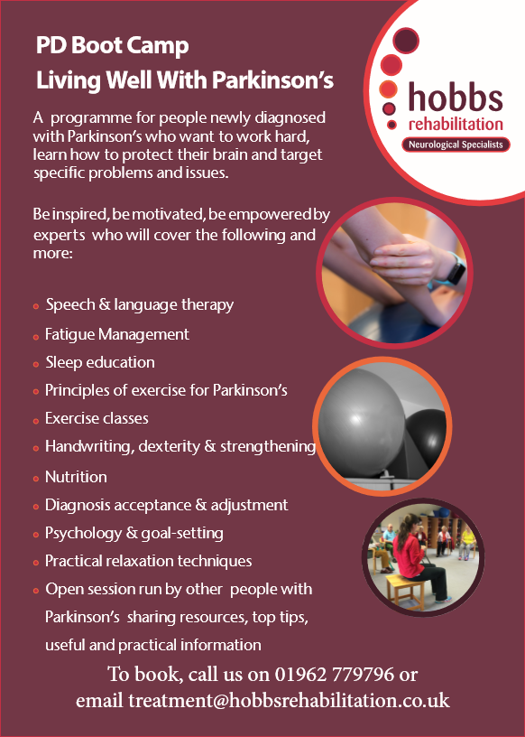 Know anyone newly diagnosed with Parkinson's? Please send on details of our highly regarded PD Boot Camp, Living Well with Parkinson's. It's a 1 week intensive course designed to educate, motivate and inspire. Booking deadline 30th April! https://www.hobbsrehabilitation.co.uk/docs/Living_Well_With_Parkinsons_A5_v3.pdf …