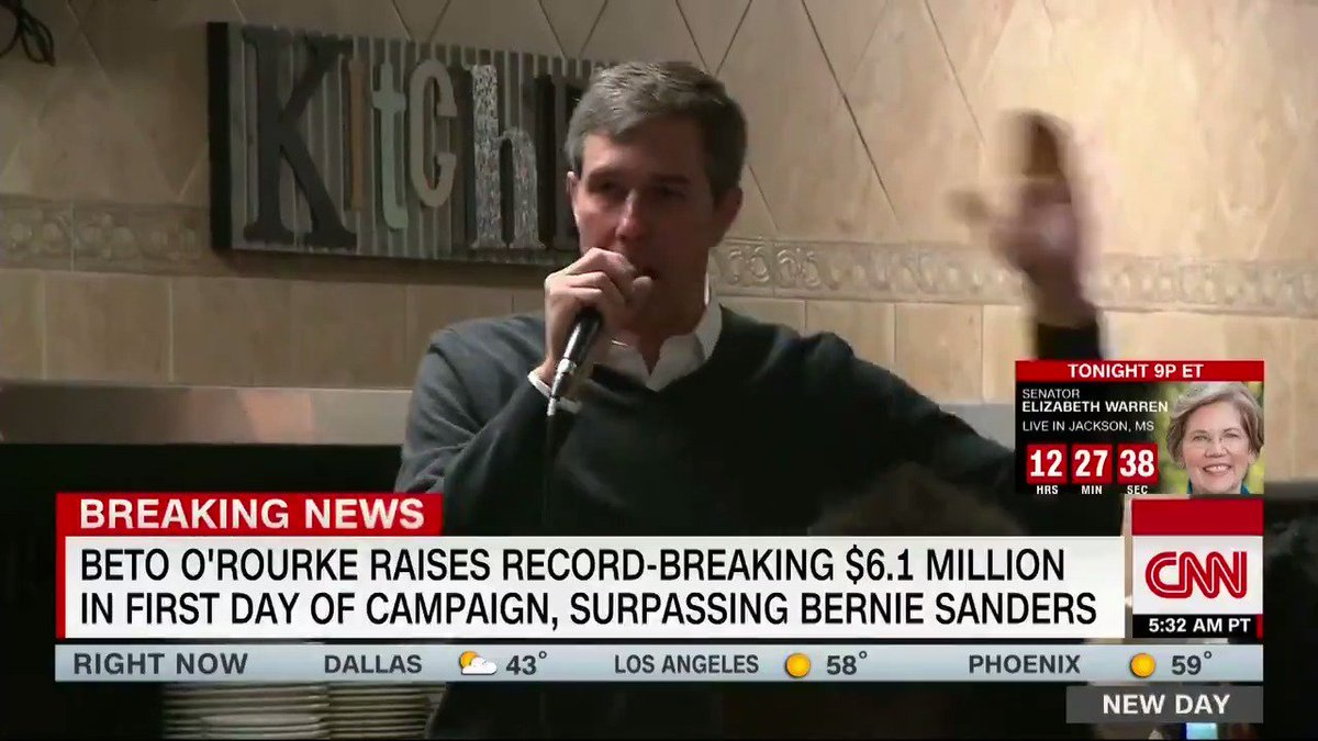 Beto O'Rourke raised a record-breaking $6.1 million in his first day in the 2020 race, his campaign announced today.   CNN's Harry Enten explains how O'Rourke stacks up against the rest of the Democratic field. http://cnn.it/2ua2AZU