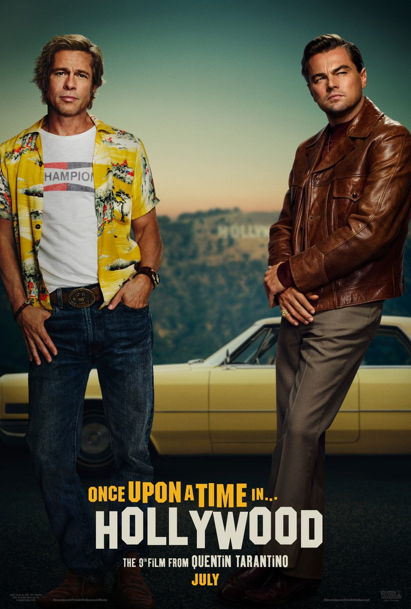 Leonardo DiCaprio and Brad Pitt star in new #OnceUponATimeinHollywood poster 👀  (via @SonyPictures)