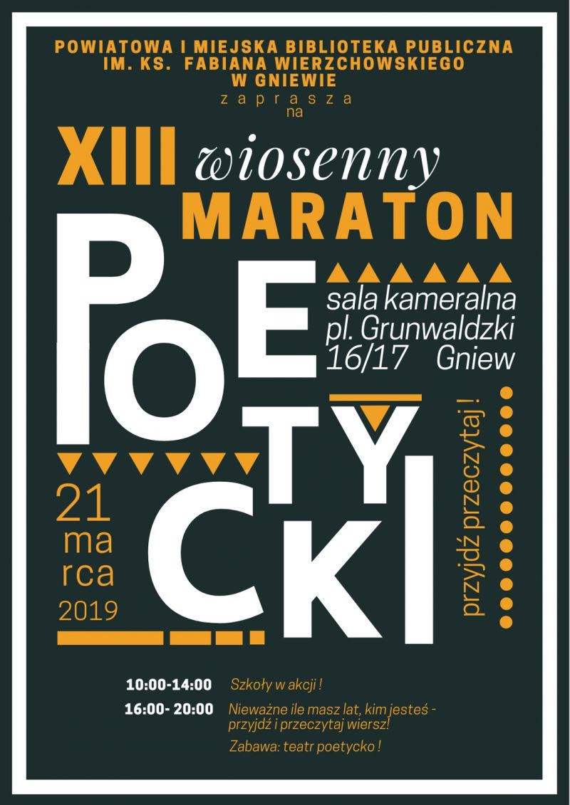 Miasto I Gmina Gniew On Twitter Maraton Poetycki W Gniewie