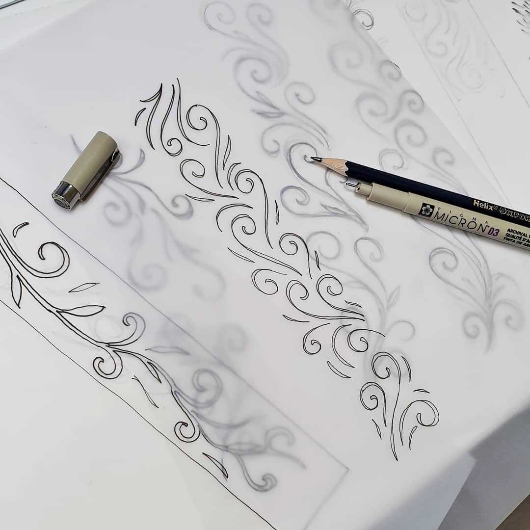 canteen design catersales interior design classes london Designing a floral graphic for a customeru0027s counter fascia.  #coffeeshopdesign #sketch #art