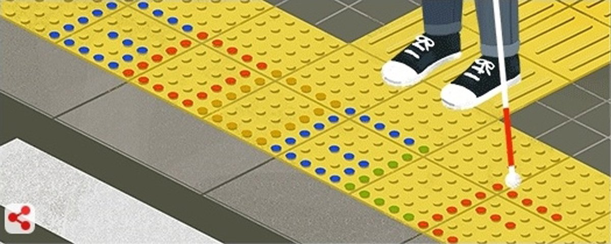 Today&#39;s #GoogleDoodle celebrates Japanese inventor Seiichi Miyake. In 1965, Miyake spent his own money to invent tactile blocks or Tenji blocks in an effort to help his friend navigate. Today, these raised bumps &amp; bars are used on sidewalks &amp; in public spaces around the world! <br>http://pic.twitter.com/swbsJlKTyg