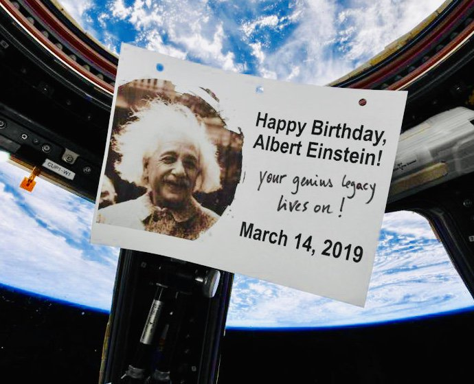 Last week, they even celebrated Einstein's 140th birthday in space! The Canadian astronaut David St Jacques sent us this photo from the space station!! @csa_asc @Astro_DavidS @NASA #space #Einstein140 #Einstein #March14 #birthday<br>http://pic.twitter.com/cBCIn7AwOM