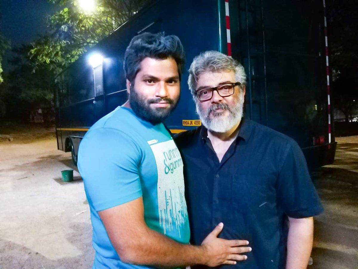 Thala #Ajith sir with stuntman Mukesh.   | #NerKondaPaarvai |