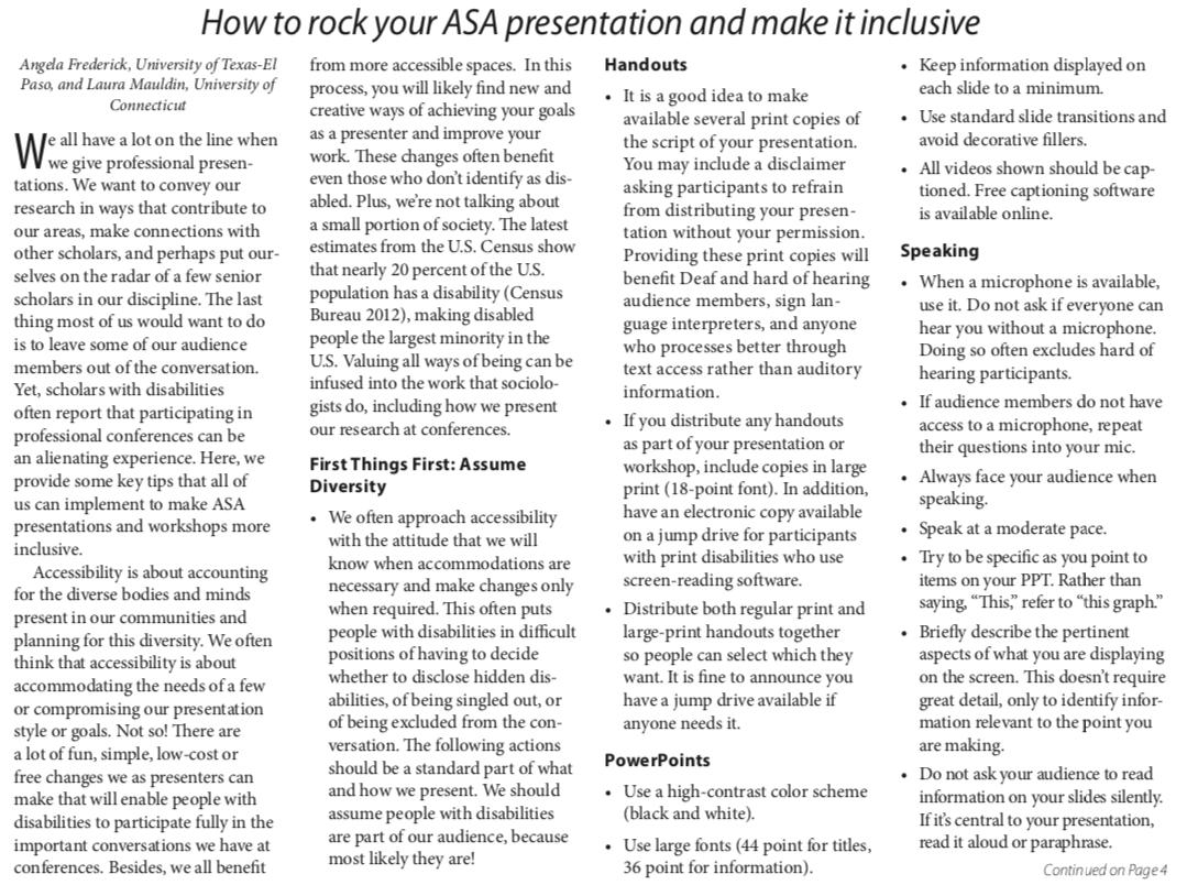 Ideas about how to make conference presentations more inclusive, from Angela Frederick (U Texas) and Laura Mauldin (U Connecticut)    http://www. asanet.org/sites/default/ files/attach/footnotes/footnotes_jan-feb-19.pdf &nbsp; … <br>http://pic.twitter.com/UZPLtvw5h2