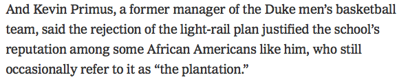 SO happy to see @DukeU administrators getting this deserved scathing attention in the NYT. Hopefully they will come to their senses.  But also this story makes the city, students and staff look awesome. ✊🏽 https://www.nytimes.com/2019/03/18/us/duke-durham-light-rail-chapel-hill.html …