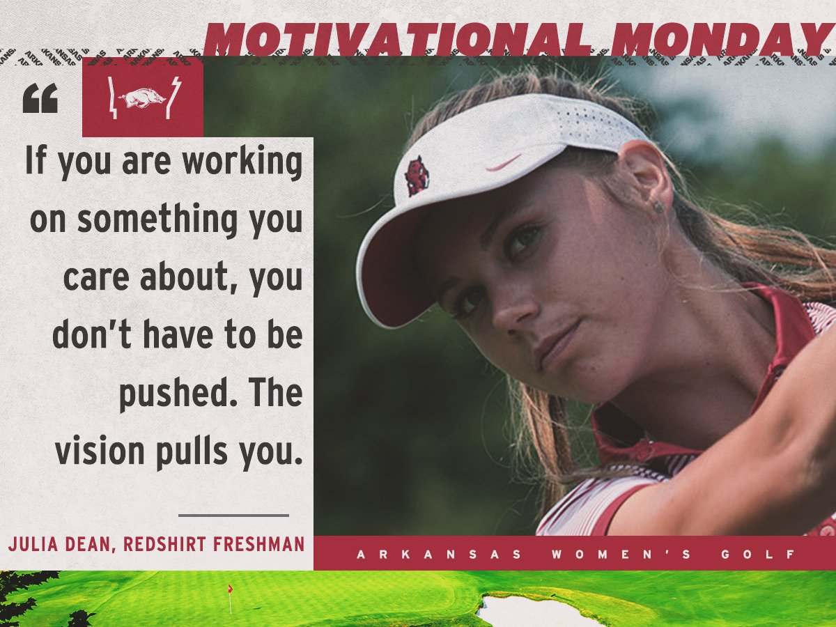 Find the vision that pulls you this week!  Great quote @julia_parker99 #MotivationalMonday #GROWasoneRAZORBACK<br>http://pic.twitter.com/E22TvGjHTG