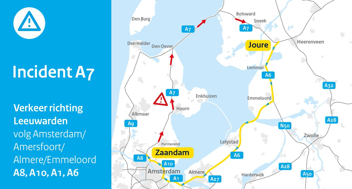 Afsluitdijk (A7) direction Friesland open again after accident ... on