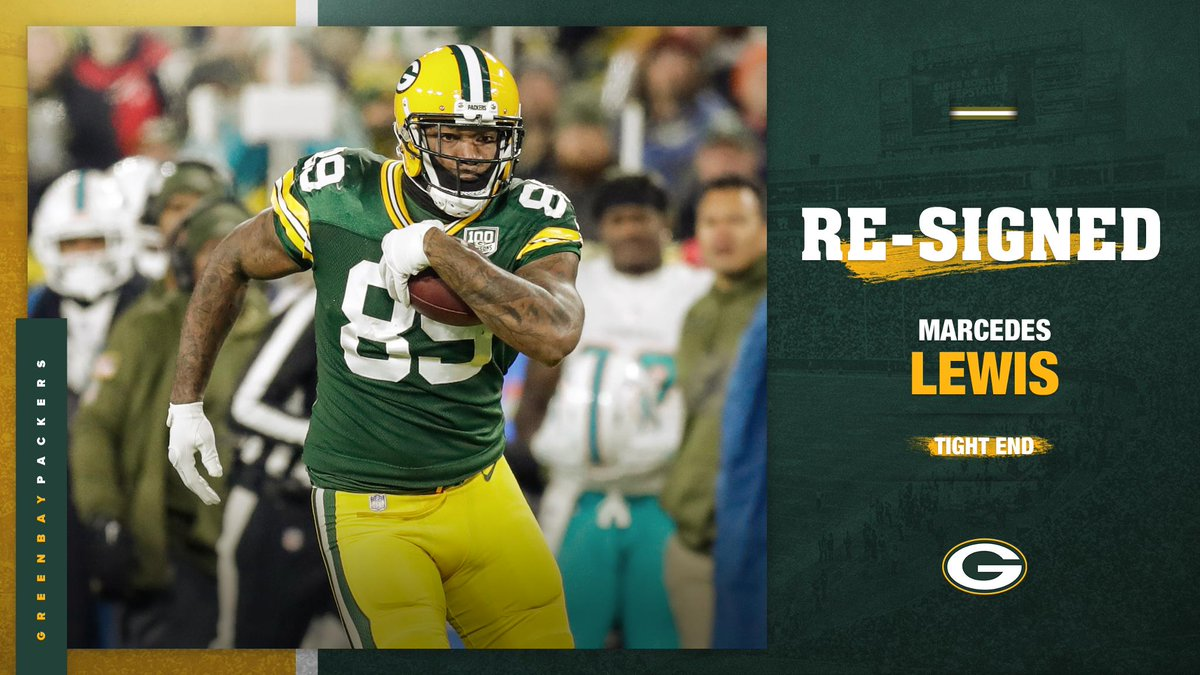 Welcome back, @MarcedesLewis89!   #Packers re-sign TE Marcedes Lewis :  https:// pckrs.com/xzql5  &nbsp;     #GoPackGo<br>http://pic.twitter.com/O5O688aEvK