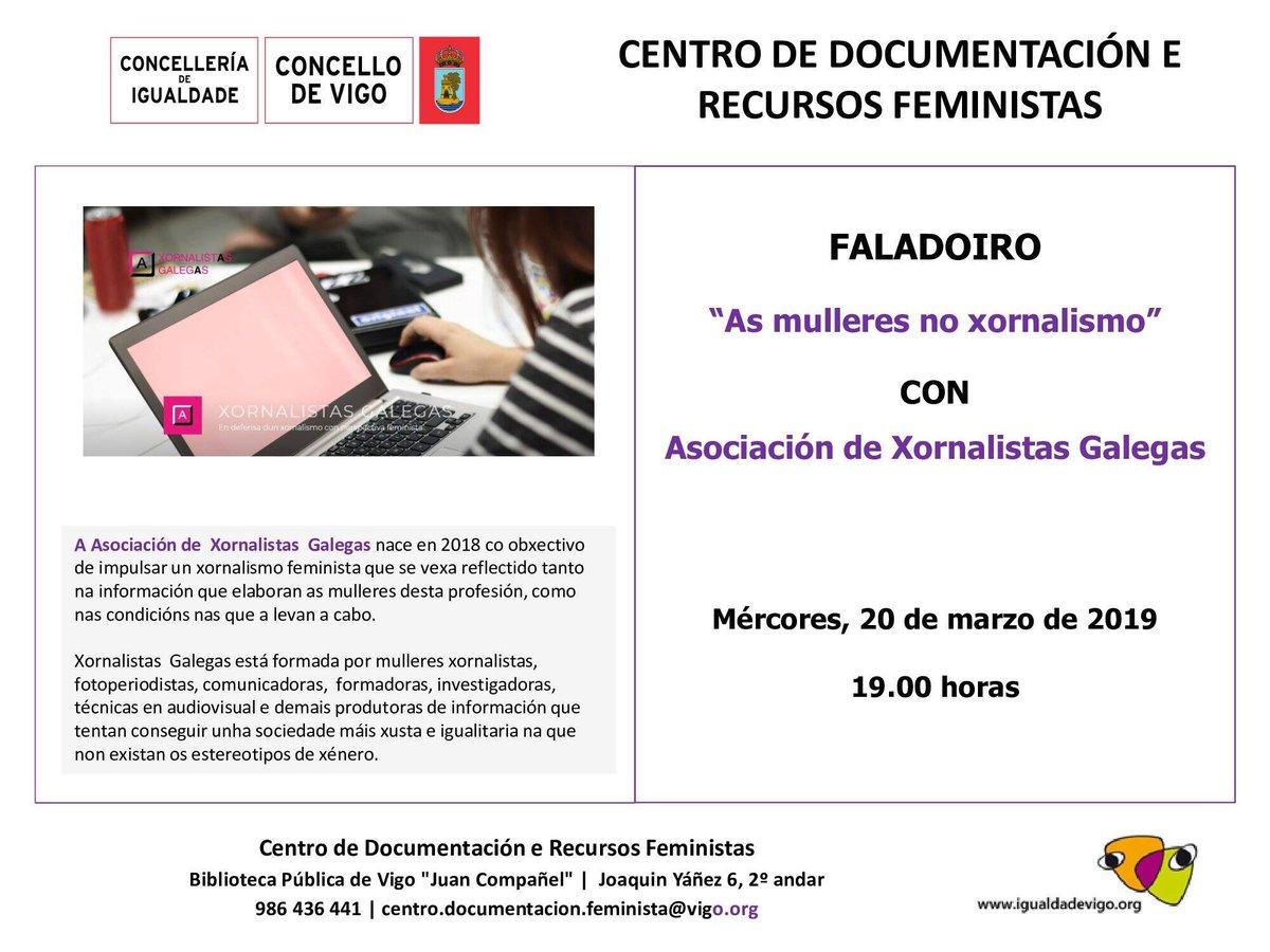 O mércores temos unha cita en #Vigo ás 19:00 horas!! O Centro de Documentación e Recursos Feministas invítanos a un coloquio sobre as mulleres no xornalismo. Vémonos! #oxornalismoseráfeminstaounonserá @igualdadevigo #XornalistasGalegas