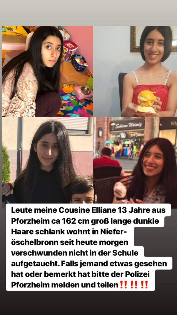 hey Army, my cousin Elliane, 13 years old went missing. She never arrived at school. 13 years, 160cm from Germany. City (Pforzheim) pls share it. We don't know if she ran away or got kidnapped or if she is traveling alone.  MISSING GIRL ALERT <br>http://pic.twitter.com/UL8m96VgDc