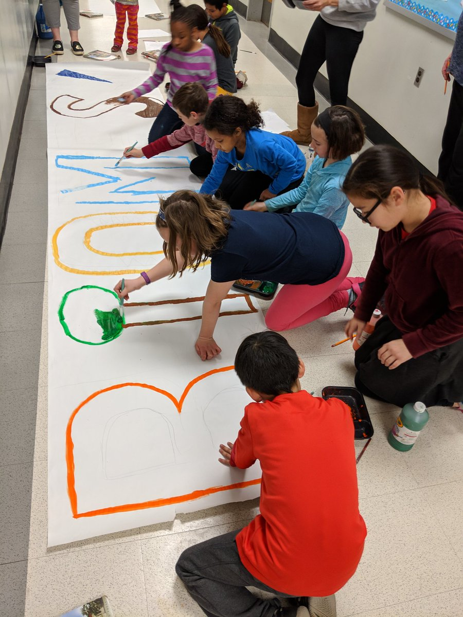 4th graders and parent volunteers work on Ms. Idol's and Ms. Probasco's backdrop for their play! <a target='_blank' href='http://twitter.com/ATSIdol'>@ATSIdol</a> <a target='_blank' href='http://twitter.com/APS_ATS'>@APS_ATS</a> <a target='_blank' href='https://t.co/UEgesrwGqs'>https://t.co/UEgesrwGqs</a>