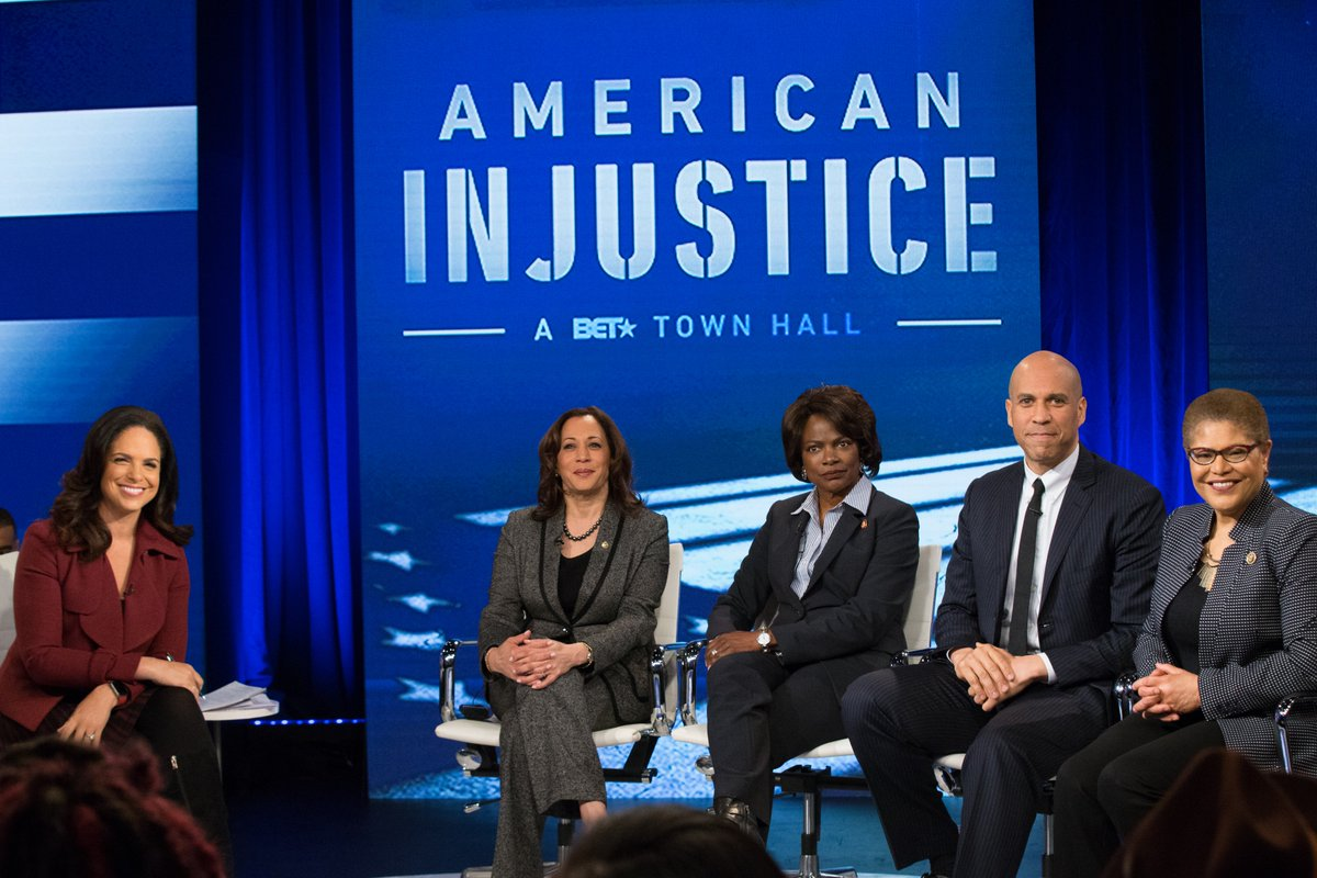 """Locking up Black people is big business."" -@RashadRobinson, President @ColorOfChange  Watch ""American Injustice: A BET Town Hall"" hosted @SoledadOBrien featuring @RepKarenBass, Senator @CoryBooker, @RepValDemings, and Senator @KamalaHarris this SUNDAY 9/8c. #FindingJusticeBET"