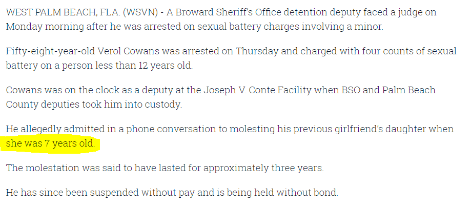 🤨Sickening She was 7.  A Broward deputy molested a 7 year old https://wsvn.com/news/local/bso-deputy-arrested-on-sexual-battery-charges-involving-child/…