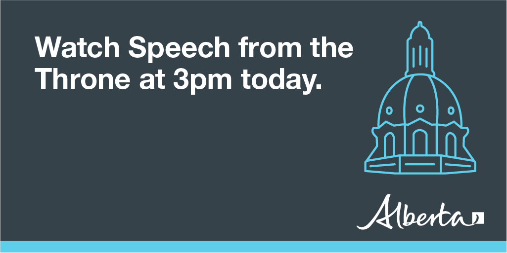 LIVE at 3pm: watch today's Speech from the Throne on the Alberta Legislative Assembly website: http://assemblyonline.assembly.ab.ca/Harmony/en/PowerBrowser/PowerBrowserV2/20190318/-1/10404 …