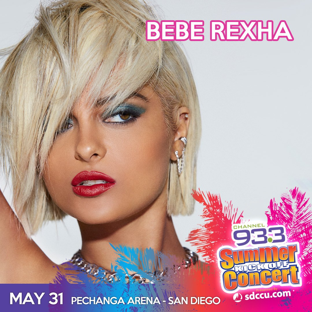 .@BebeRexha will be at our #933SUMMER Kick Off Concert 2019 presented by @sdccu at @PechangaArenaSD on Fri, May 31! Details: http://ihe.art/j3eLwue #SKOC #SanDiego #rexhars